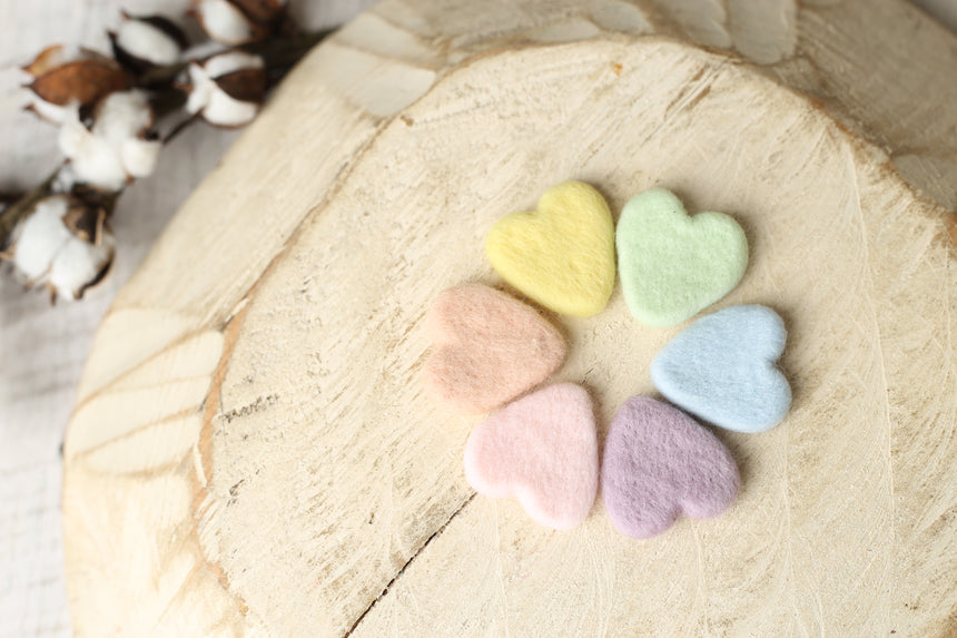 Vintage rainbow felted heart set | RTS