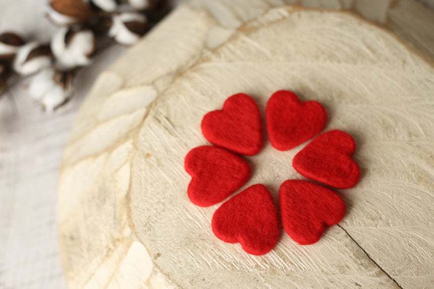 Red felted heart set | RTS