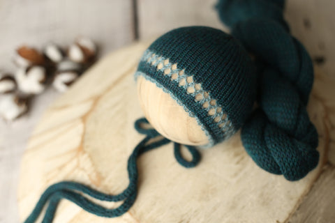 Teal Shoshie bonnet and wrap set | RTS