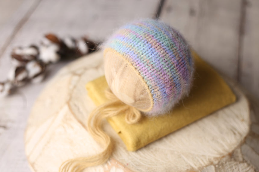 Electric Rainbow angora bonnet and/or wrap | Mustard | RTS
