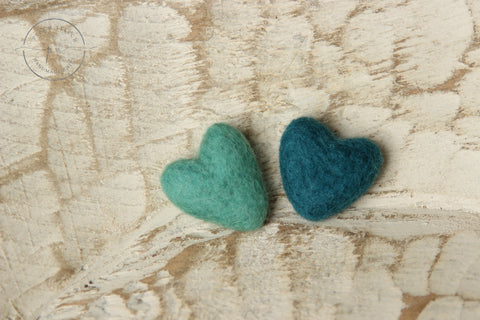 Felted hearts | Teals | RTS - Peach Stitch Photography Props