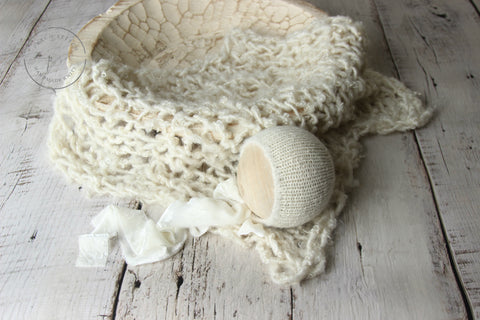 Cream bonnet and/or rustic curly layer set | RTS - Peach Stitch Photography Props
