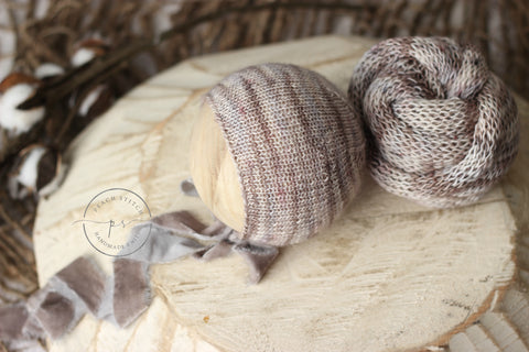 Earth shades bonnet and wrap set | RTS
