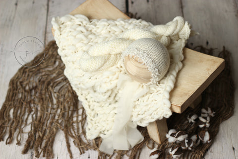 Amelia bonnet, wrap and or blanket set | Cream | RTS - Peach Stitch Photography Props