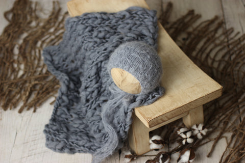 Dusty blue bonnet and wool layer set | RTS