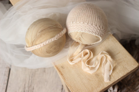 Blush bonnet and/or Braided tieback | RTS