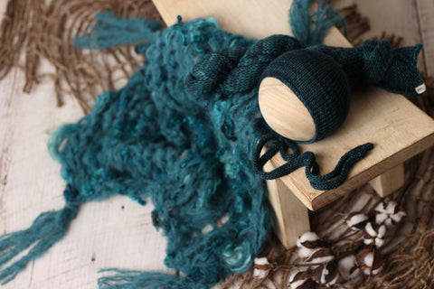Teal bonnet, wrap and tassel fuzzy curly layer set | RTS