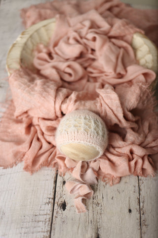 Rose blush Signature bonnet, wrap, and/or Agathe layer set | RTS