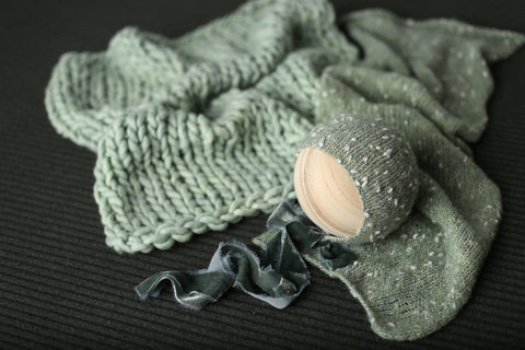 Minted sage bonnet, mini wrap, layer and/or backdrop set | RTS