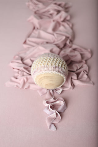 Pastel mauve Eidel bonnet, stretch wrap and/or backdrop set | RTS