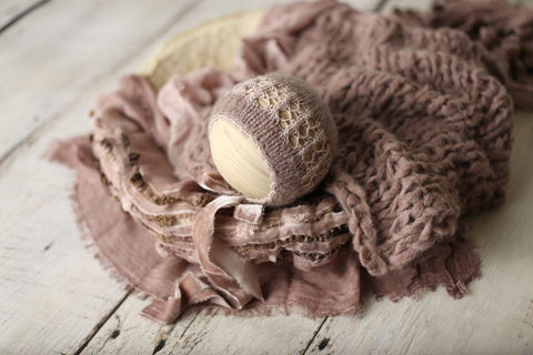 Dusty mauve Signature bonnet, knit layer and Pebbles layer set | RTS
