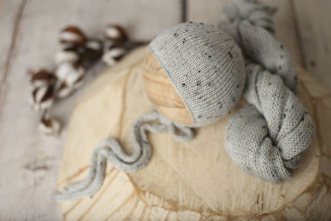 Silver tweed bonnet and wrap set | RTS