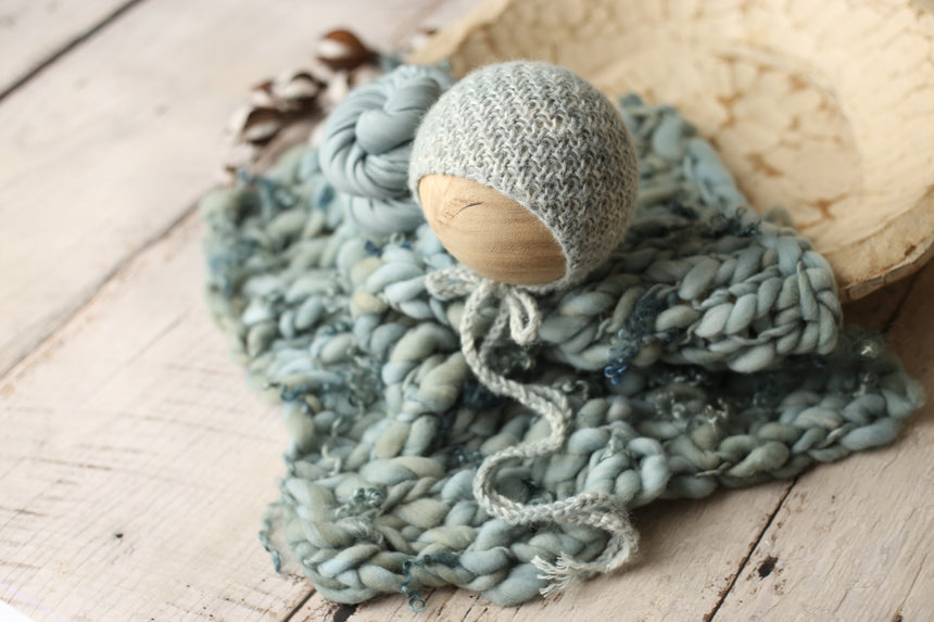 Sea Stone Asher bonnet, wrap and/or mini curly layer set | RTS