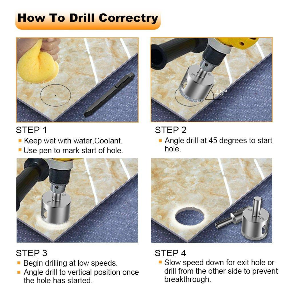Glass And Tile Hollow Core Drill Bits Extractor Remover Tools