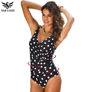 Retro Vintage One Piece Swimsuit - Plus Size Monokini