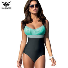 NAKIAEOI One Piece Swimsuit Plus Size Swimwear Women Swimsuit 2018 Summer Large Beach Vintage Retro Bathing Suits Swim Wear XXL