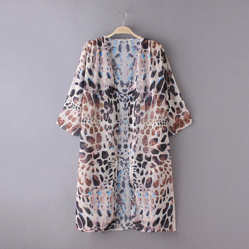 *New For 2018* - Jecksion Fashion -  Leopard Boho Printed Kimono Cardigan