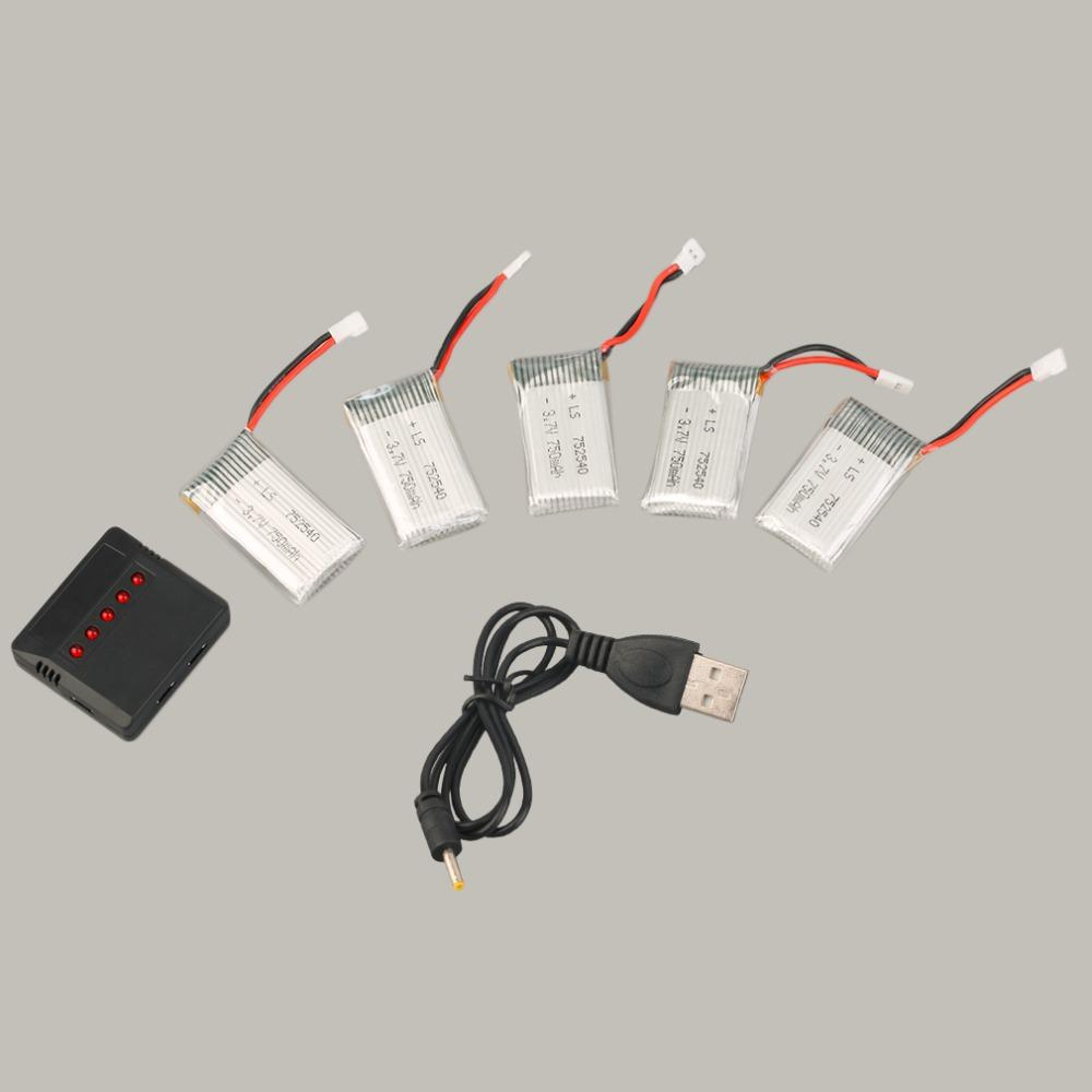 A Must Need - 5pcs 3.7V 750mAh Rechargeable Lipo Battery with Charger+Cable For Drone