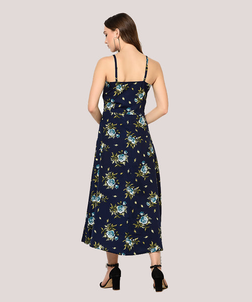 Blue Floral Shoulder Strap A-line Maxi Dress