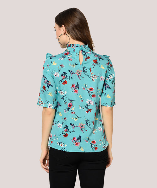 Blue Floral Turtle Neck Ruffle Top - Raaika Clothing