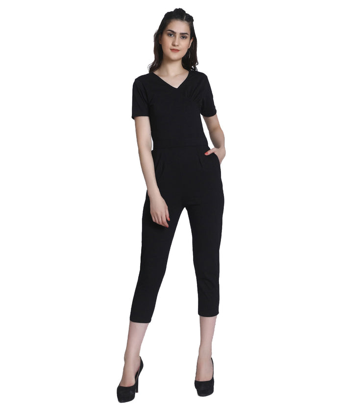 Solid Black Full Length Party Wear Jumpsuit - Raaika Clothing