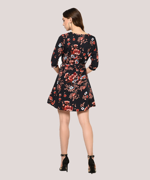 Black Floral Mandarin Collar Fit and Flare Dress - Raaika Clothing