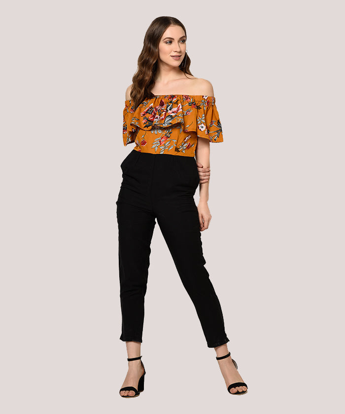 Brown Black Off Shoulder Ruffle Jumpsuit - Raaika Clothing