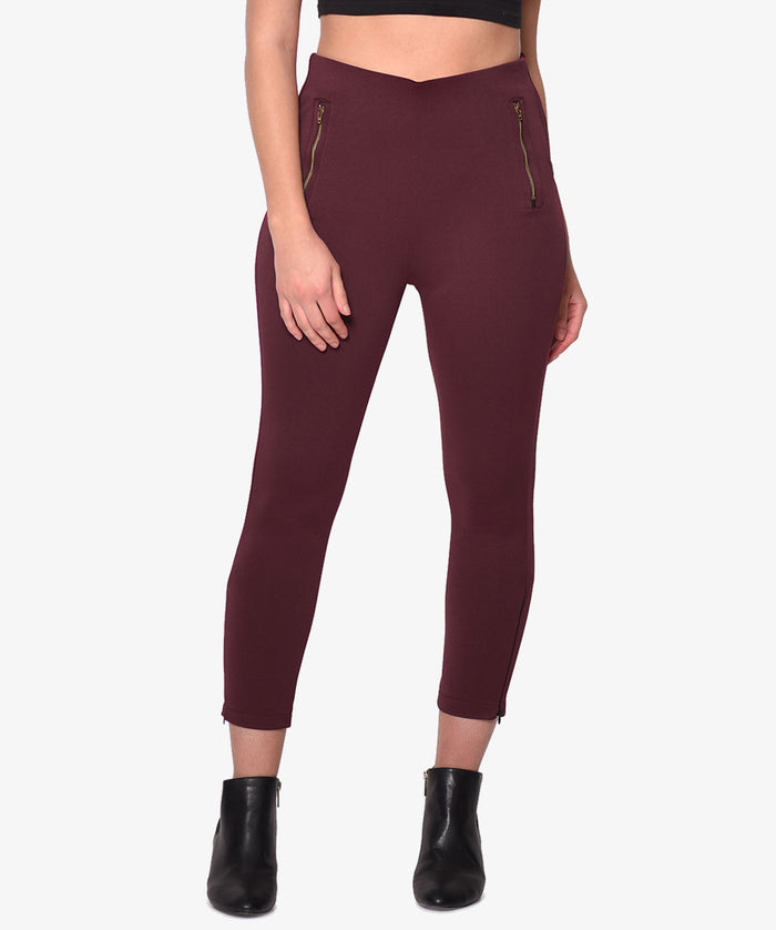 Maroon Fitted High Waist Jeggings - Raaika Clothing