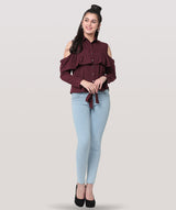 Maroon Frill Cold Shoulder Knot party top - Raaika Clothing