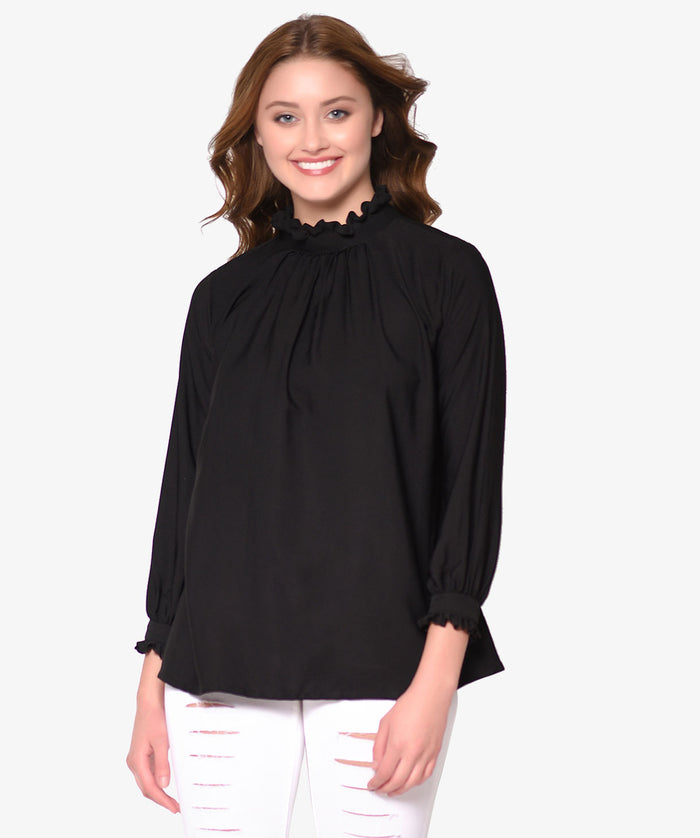 3/4th Sleeved Ruffle Regular Top - Raaika Clothing