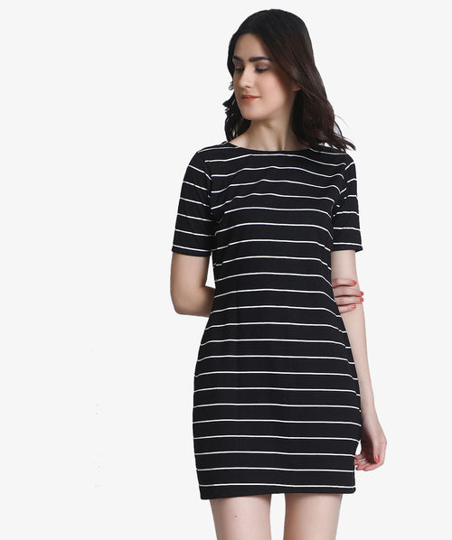 Black Stripped Bodycon Dress - Raaika Clothing