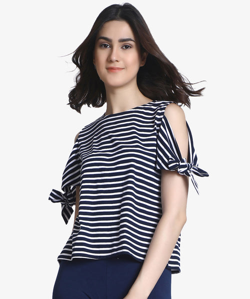 Stripped Hand Knot Cut Shoulder Casual Top - Raaika Clothing
