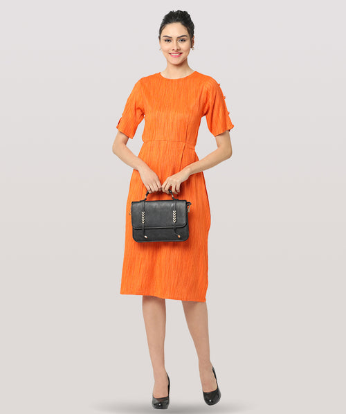 Orange Round Neck A-line Midi Dress - Raaika Clothing
