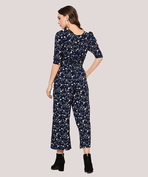 Navy Floral Puffed Sleeves Jumpsuit - Raaika Clothing
