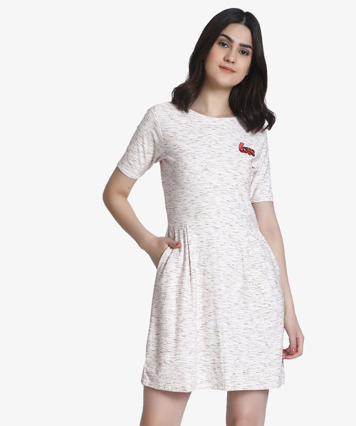 Half Sleeves A-line White Dress - Raaika Clothing