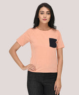 Peach Pocket T-shirt Casual Wear - Raaika Clothing