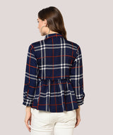 Blue Checkered Full Sleeves Peplum Top