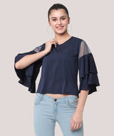 Blue Bell Sleeves Party Wear Crop Top - Raaika Clothing