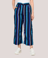 Blue Stripped Ankle Length Trouser Pant - Raaika Clothing