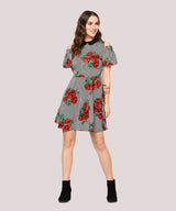 Grey Floral Peter Pan Collar Skater Dress - Raaika Clothing