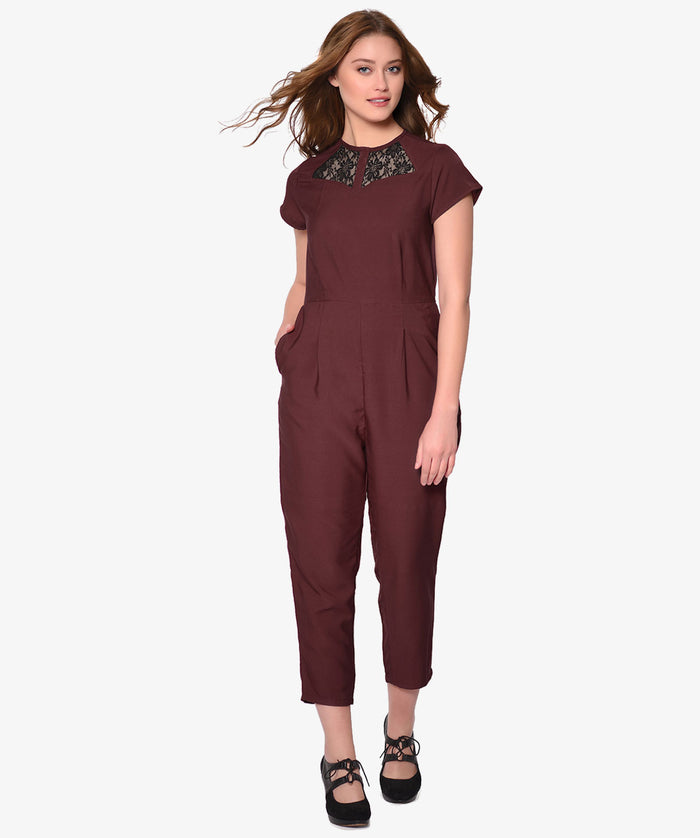 Maroon Front Lace Slim Fit Party Jumpsuit - Raaika Clothing