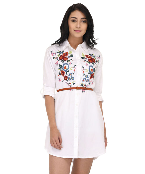 White Floral Embroidery Shirt Dress - Raaika Clothing
