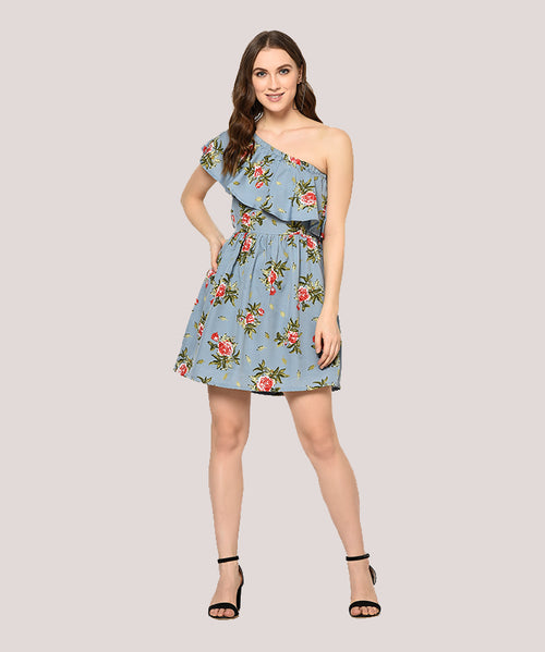 Blue One Shoulder Ruffle Fit and Flare Dress - Raaika Clothing