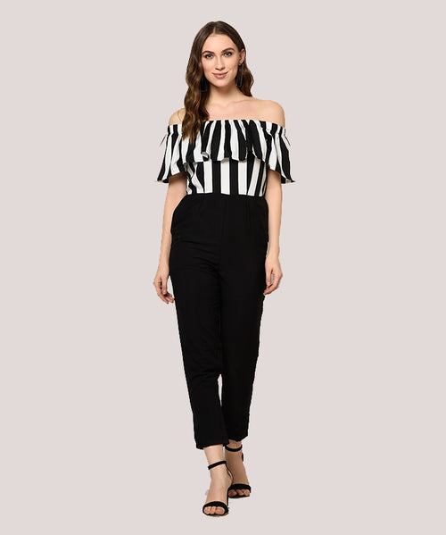 Black and White Striped Off Shoulder Ruffle Jumpsuit - Raaika Clothing