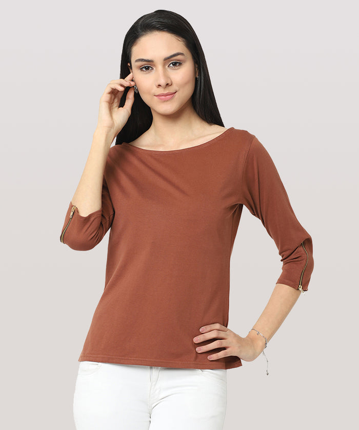 The Brown Top With A Twist - Raaika Clothing