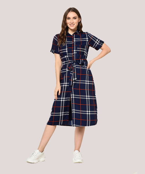 Blue Checkered Belted A-line Midi Dress - Raaika Clothing