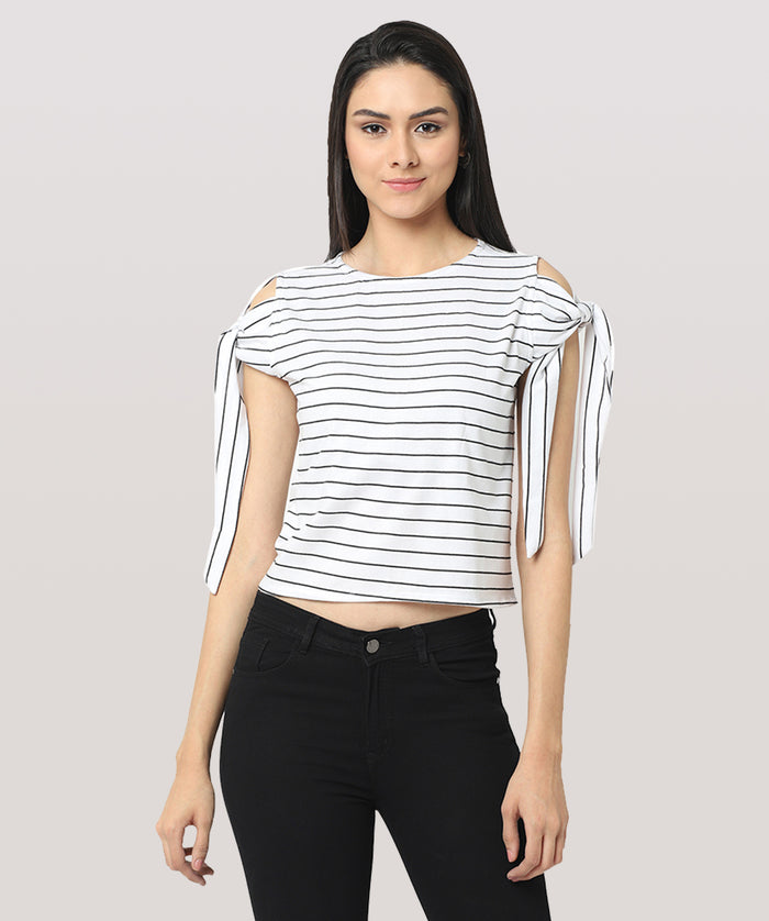 White Striped Hand Knot Cut Shoulder Casual Top - Raaika Clothing