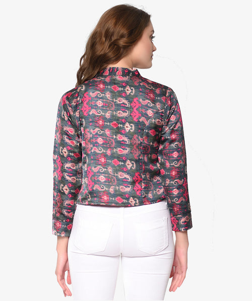 Multicolor Printed Silk Top Jacket - Raaika Clothing