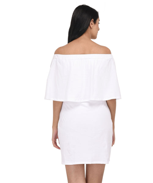 White Off Shoulder Bodycon Dress - Raaika Clothing