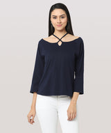 Full Sleeve Blue Boat Neck Casual Top - Raaika Clothing